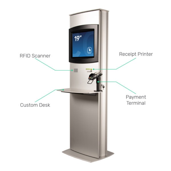 Computer kiosk with RFID scanner, receipt printer and payment terminal FLEXI Maxi by Conceptkiosk