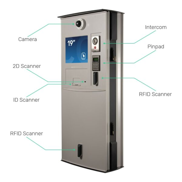 Custom Kiosk with Camera, 2D Scanner, ID Scanner, RFID Scanner, Intercom and Pinpad - FLEXI Outdoor