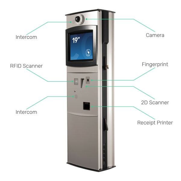 Custom Kiosk with Intercom, RFID Scanner, Camera, Fingerprint Scanner, 2D Scanner, and Receipt Printer - FLEXI Outdoor