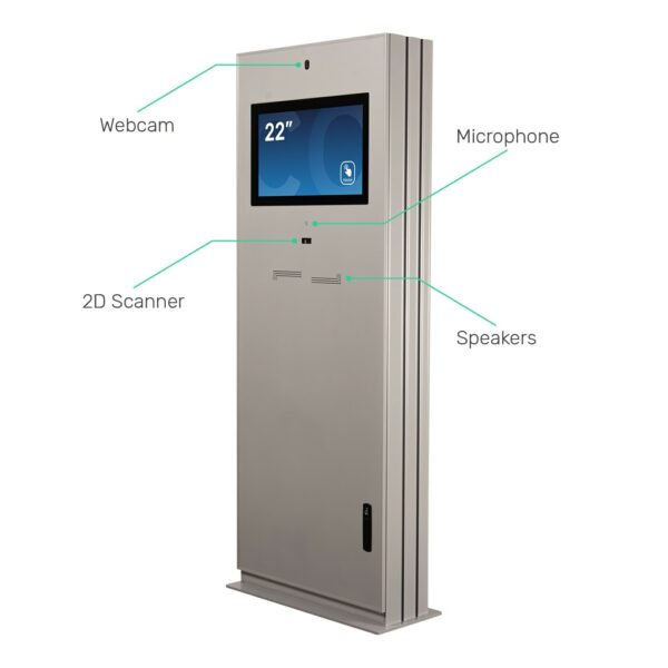 Outdoor digital kiosk with integrated webcam, microphone, speakers and 2D Scanner