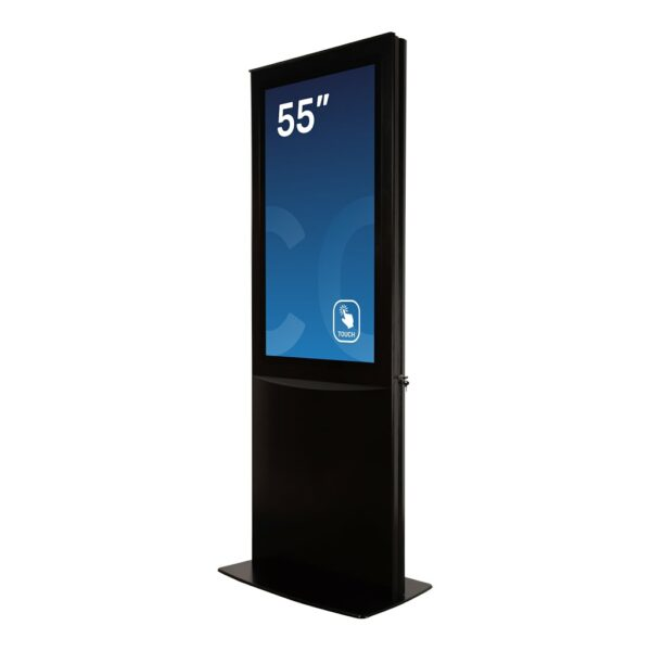 Digital signage display DURA Slim Base Model in black painting seen in a 45 degree angle by Conceptkiosk