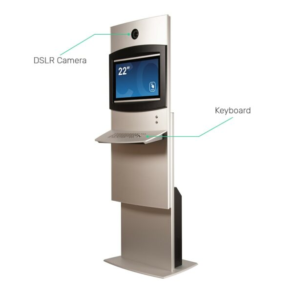 Height-adjustable kiosk with DSLR camera and Keyboard FLEXI Adjust by Conceptkiosk