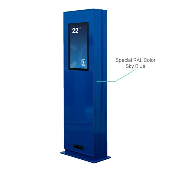 Blue painted outdoor kiosk - FLEXI Outdoor by Conceptkiosk