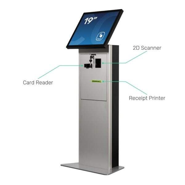 Tablet kiosk stand with card reader, 2D scanner and receipt printer FLEXI Stand by Conceptkiosk