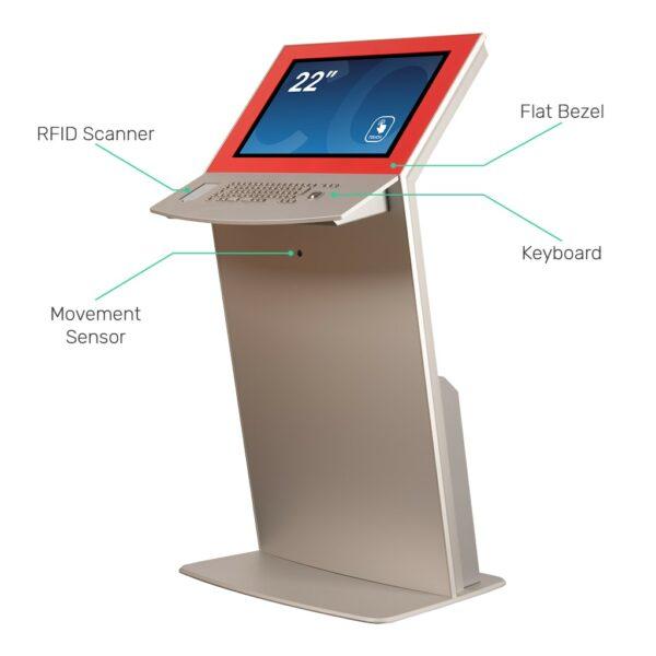 Touch screen kiosk with flat bezel, keyboard, RFID scanner and movement sensor FLEXI Tilt