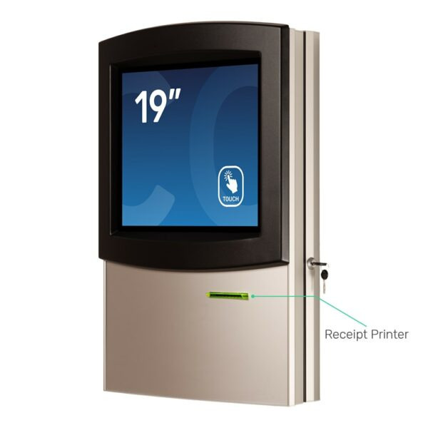 Wall-hanging kiosk with receipt printer FLEXI Wall by Conceptkiosk