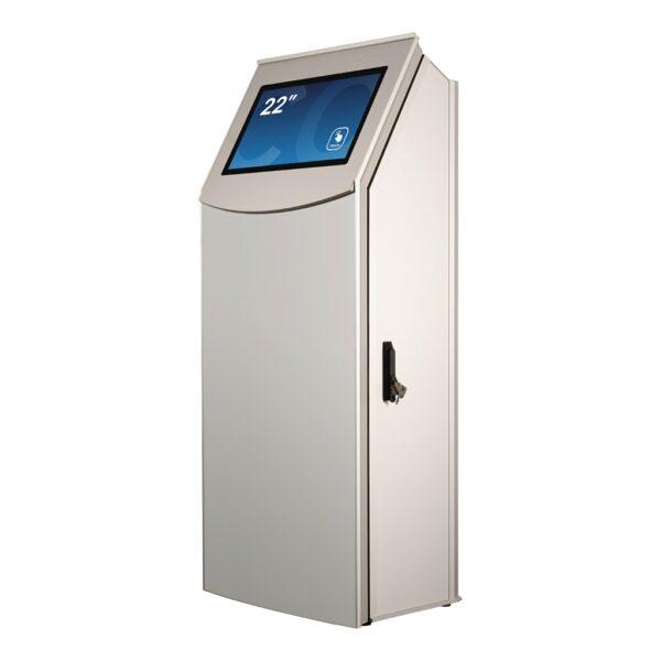 Multimedia kiosk FLEXI Multi Base Model seen in a 45-degree angle by Conceptkiosk