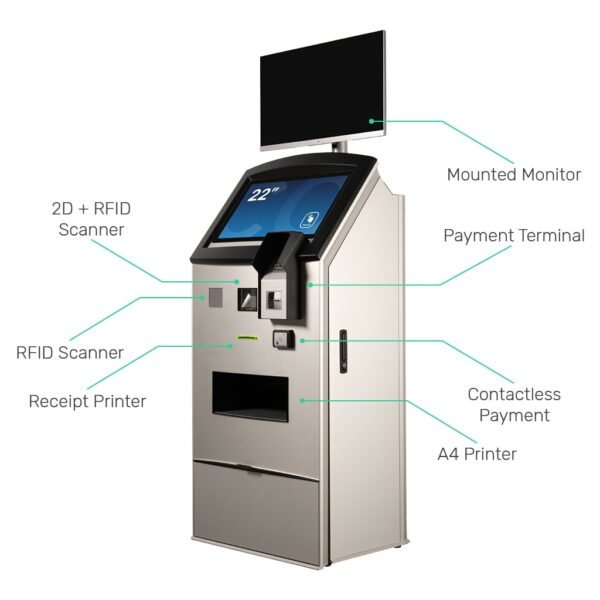 Multimedia kiosk FLEXI Multi with 2D and RFID scanner, receipt printer, mounted monitor, payment terminal, contactless payment and A4 printer