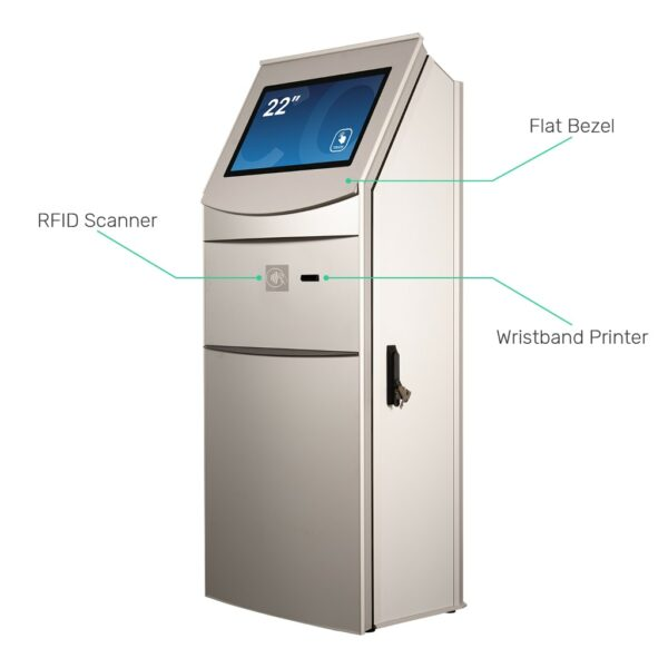 Multimedia kiosk FLEXI Multi with RFID scanner and wristband printer