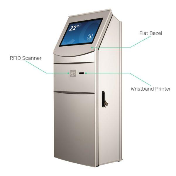Multimedia kiosk FLEXI Multi with RFID scanner and wristband printer