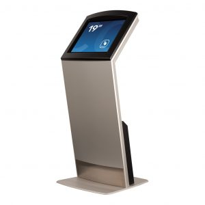Touch screen kiosk FLEXI Tilt Base Model seen in a 45 degree angle by Conceptkiosk